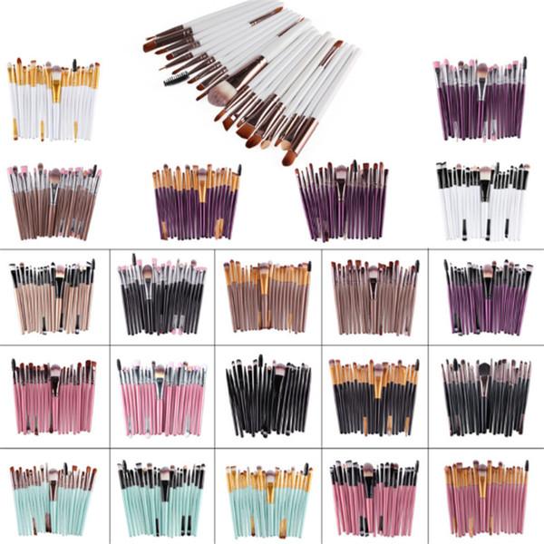 20 pcs marca Pinceles de maquillaje Set de pinceles cosméticos profesionales Con polvo de contorno natural Cosméticos Pincel Maquillaje