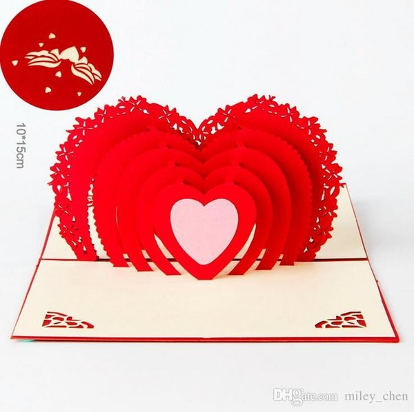 Wedding Greeting Cards Red Heart Design 3D Pop UP Gift Crads creative soulmate wholesale DIY paper art postcards Chinese Wholesale Best Sale
