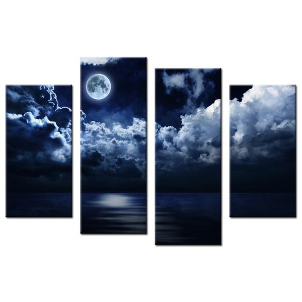 Moonlight Picture Giclee Prints Vollmond Leinwanddruck Bild Dekorative Leinwand Artwork für Wohnzimmer und Schlafzimmer 4-Panel