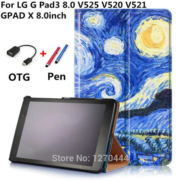 Toptan Satış - GPad X 8inch V525 V521 Renkli çizim Deri Kılıfları LG G Pad 3 iii 8.0 V525 V520 V521 Gpad3 GPAD X 8.0inch tablet PC için Kapak