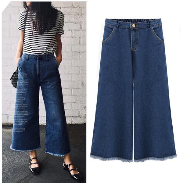 продвижение женщин синий карман на молнии промывают новой женской моды расклешенные брюки талии джинсы