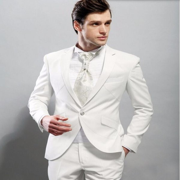 Handsome men suits new Style White Groom suits Tuxedos Best Man Suit Slim Fit groomsman Prom tuxedos(jacket+pants)