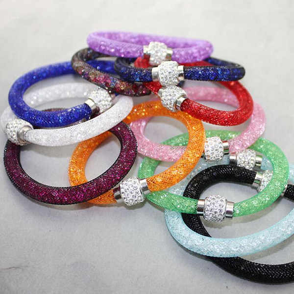 Brand new Hot mesh mesh tube crystal single layer magnetic button bracelet bracelet FB013 mix order 20 pieces a lot Beaded, Strands