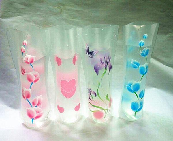 12*27cm Creative Clear Eco-friendly Foldable Folding Flower PVC Vase Unbreakable Reusable Home Wedding Party Decoration wa3799