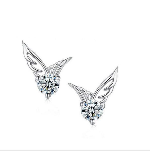 10pairs S 925 Stamped silver plated stud earrings Crystal Angel Wings Stud pierce earrings for women girl lowest factory price ED037
