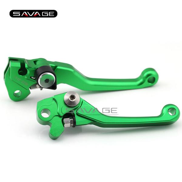 For KAWASAKI KX 125/250 2000-2005 KX 65/85/100 2002-2015 Green Motorcycle Dirt Bike Off-road CNC Pivot Brake Clutch Lever