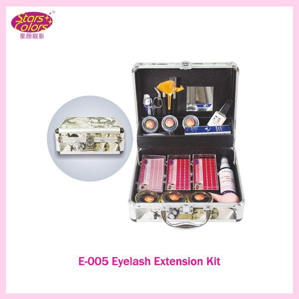 Wholesale-2016 Professional Double Layer Beauty Grafting False Eyelash Extension Kit E-005 Makeup Set With Silver Box Case Salon