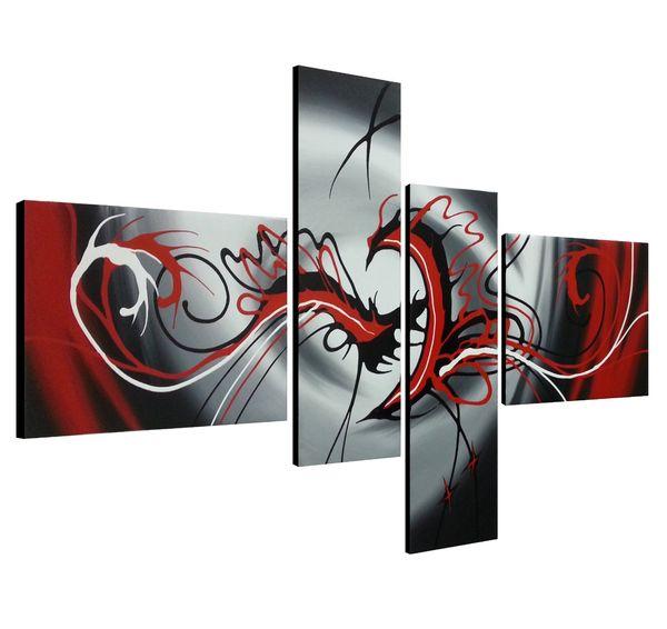 Moderne 4 Panels Artwork 100% handgemalte zeitgenössische Ölgemälde auf Leinwand Wandkunst fertig zum Aufhängen für Wohnzimmer Schlafzimmer Home Decoratio