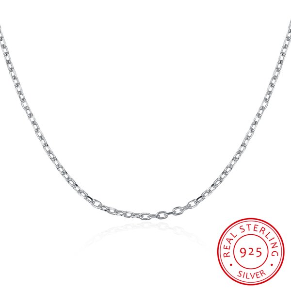 18 Inch 40CM-45CM 100% 925 Sterling Silver Link Chains Women S925 Silver Chains Necklace Cheap DIY Jewelry Best Gift for Self Families