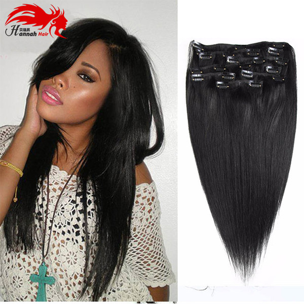 best selling Hannah product Full Head Clip in Human Hair Extensions Natural Black Hair Clip 10 Pieces Straight Brazilian Hair Clip in Extensions
