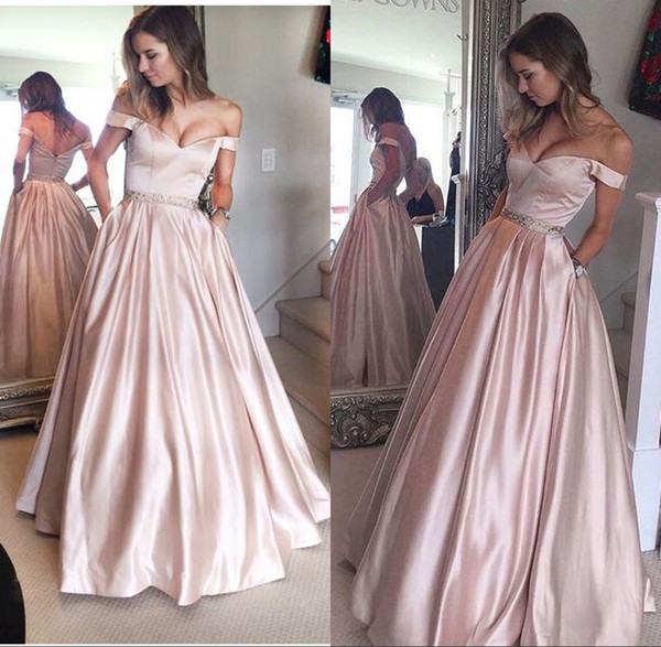 Pearl Pink Puffy Off-the-Shoulder Prom Party Gowns for Juniors 2017 with Pockets Beading Floor Length Prom Dress Evening Wear