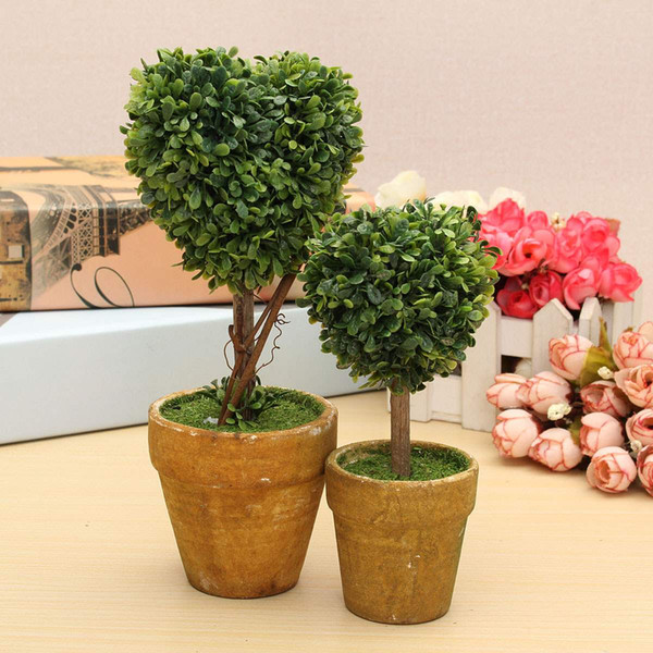 Wholesale- Wedding Arrangement Artificial Garden Grass Buxus Balls Boxwood Topiary Landscape Fake Trees Pots Plants