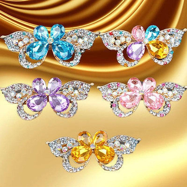 5 Colors Butterfly Hair Clips Rhinestones Crystal Butterfly Flower Hairpins Hairband CZ Diamond Barrettes Hair Accessories Wedding Jewelry