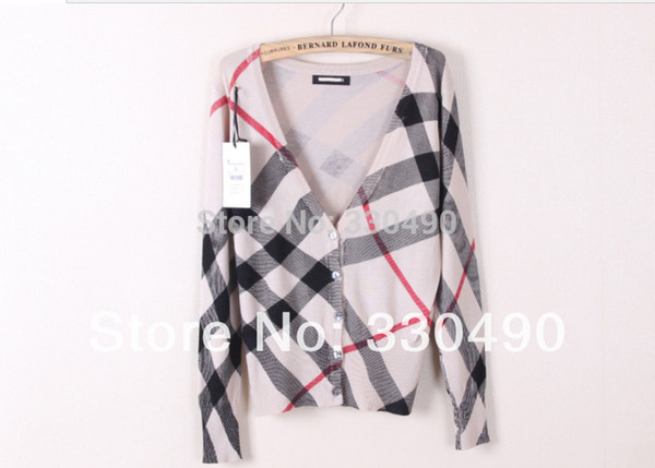 Wholesale-2014 Spring women's sweater V-neck shell button Plaid stripe knitted sweater ladies' Cardigan sweater knitwear