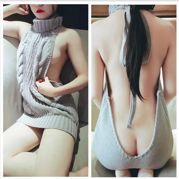 Al por mayor-2017 Caliente Japón Sexy Tie Open Backless largo Virgin Killer Sweater cuello alto sin mangas suéteres blancos gris pullover Anime chaleco