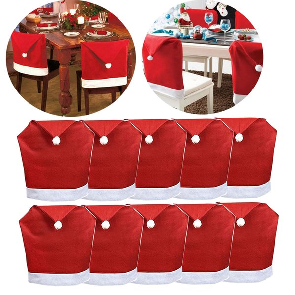 Magnificent Christmas Santa Claus Hat Chair Back Covers Xmas Dinner Decor Red Dining Chair Slipcovers Decoration 60Cm X 50Cm Set Of 10 House Decoration Machost Co Dining Chair Design Ideas Machostcouk