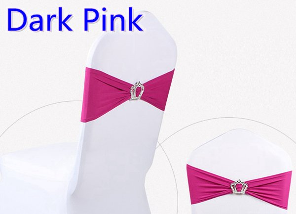 Dark pink colour Crown buckle lycra sash for wedding chairs decoration spandex band stretch bow tie lycra ribbon belt on sale