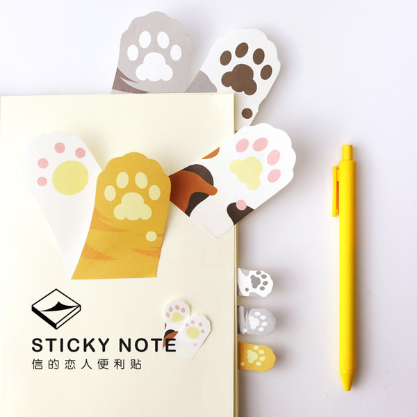 top popular Wholesale- 6 pcs Lot Meow Kawaii cat claw sticky notes adhesive sticker Post memo pad Stationery Office accessories School supplies 6107 2020