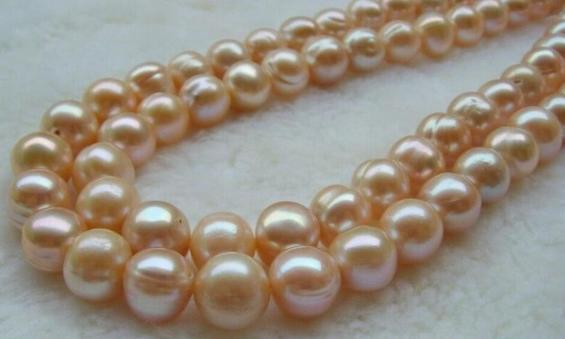 AAA SOUTH SEA 12-13MM PINK NATURAL PEARL NECKLACE 35 INCH 14K GOLD CLASP
