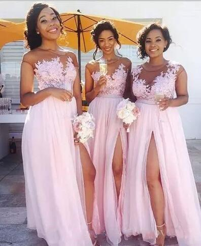 Pink Long Chiffon Bridesmaid Dresses 2019 Short Sleeves Lace Top Thigh High Split Summer Beach Wedding Guest Dresses Maid Of Honor Gowns