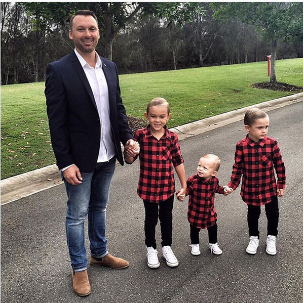 best selling high quality cool tshirt 1-7Y Kids Boys Girls Long Sleeve T Shirt Plaids Checks Tops Blouse children cotton trendy Casual Clothes wholesale