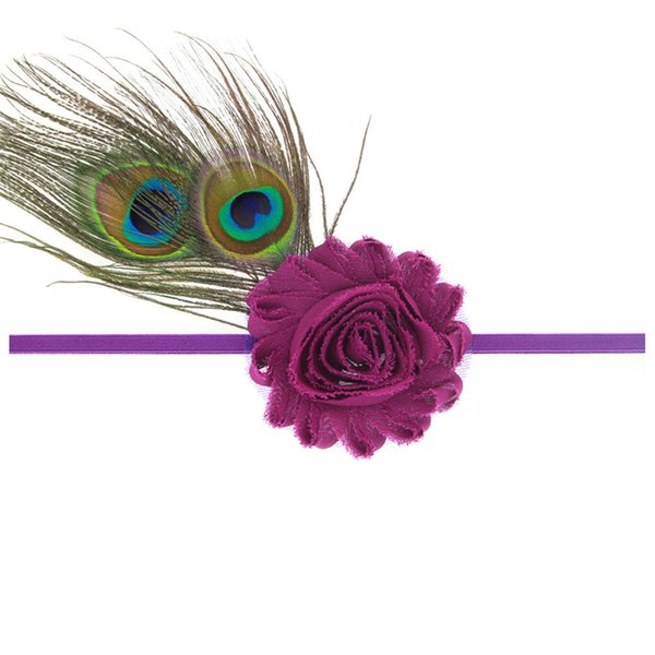 Girls peacock feathers headband Baby lace flower hair band photo props