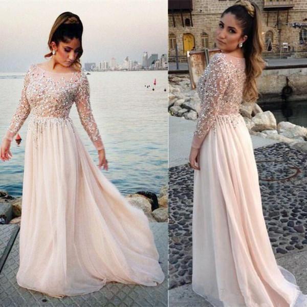 Langarm Abendkleider Plus Size Perlen Durchsichtig Top Chiffon Bodenlangen Party Kleider Mode Moderne Benutzerdefinierte Größe