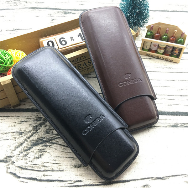 best selling COHIBA Brown Color and Black Color Leather Holder 2 Tube Travel Cigar Case Humidor For smoking