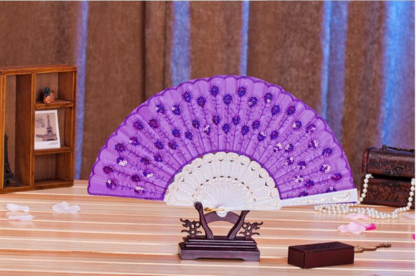"""2017 Colorful Ladys Spanish Embroidered Sequins Hand Flower Lace Folding Fan """"Peacock Showing Expectations of love"""" Wedding Party Decor HOT"""