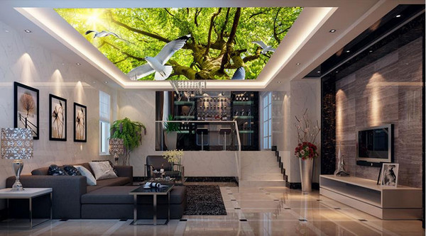 custom luxury 3d ceiling wallpaper Towering forest sunny pigeons ceiling wallpapers for living room 3d ceiling wallpaper