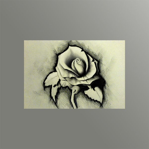 Modern Wall Decorative Painting Sketch Rose Canvas Art Printing Picture on Canvas from Digital Painting for Home Decoration