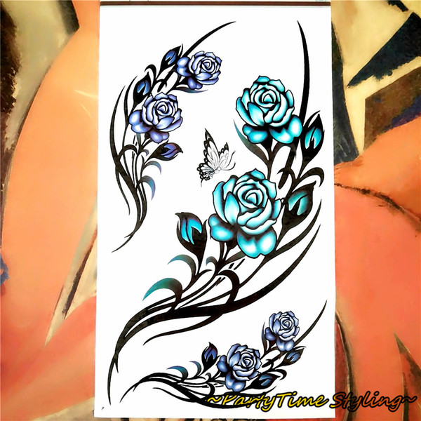 Wholesale- Sexy White Blue Rose Temporary Tattoo Body Art Flash Tattoo Stickers 17*10cm Waterproof Henna Tatoo Selfie Fake Tattoo Sticker