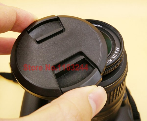 Wholesale-2015 new style 49mm 52mm 55mm 58mm 62mm 67mm 72mm 77mm Center Pinch Snap-on Front Lens Cap For Camera Lens Filters