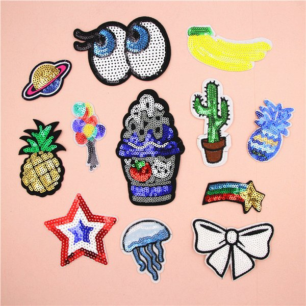 top popular Fashion Iron On Patches For Clothing Bag Decoration Sequin Patches Embroidered Sticker Patch DIY Garment Sewing Accessories 2019