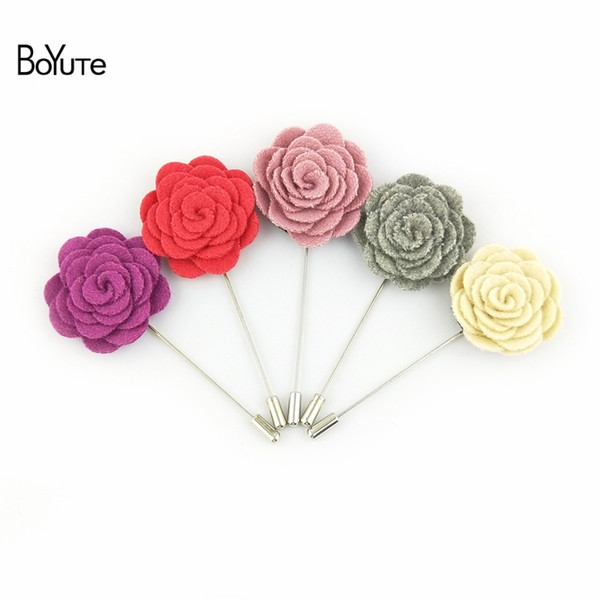 BoYuTe 50Pcs 18 Colors High Quality Wool Fabric Flower Lapel Pin Men Brooch for Suits Fashion Accessories
