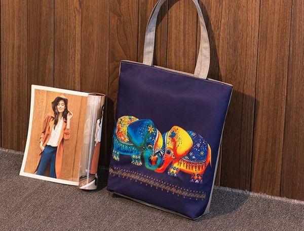 91b356c7532a Cartoon Elephant Printed Women Casual Tote Female Daily Use Canvas Handbag  Lady Single Shoulder Shopping Bag