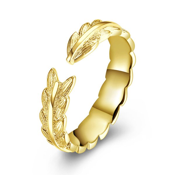 Simple Style Free Adjustable KC Gold Plated Brass Leaf Open Ring for Lady from China Free Shipping