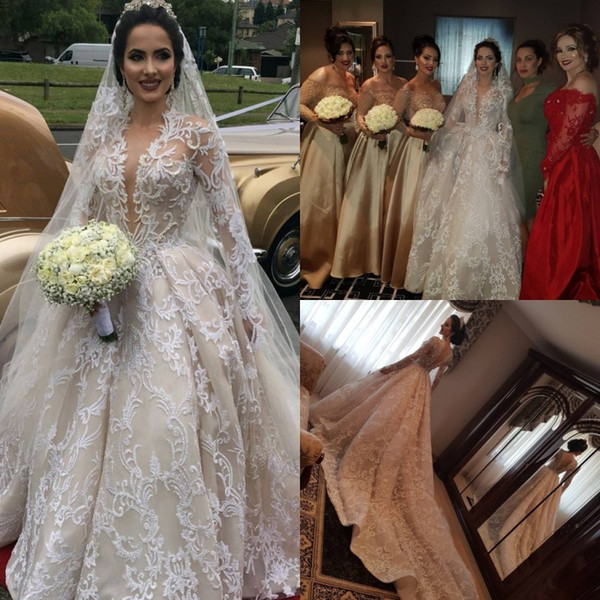Long Sleeves Deep V Neck Lace Ball Gown Wedding Dresses With Free Veils Applique Beads Beach Wedding Dress Sweep Train Cheap Bridal Gowns