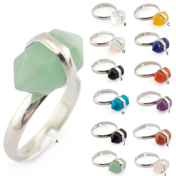 Mode Naturel Court Cristal Hexagone Prism Pierre Anneau Quartz Guérison Chakra Gemstone Anneaux Bohême Ouverture Bijoux pour Femmes
