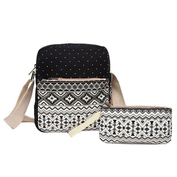 Wholesale- 2 pcs/set Polka Dot Printing Women Backpack Cute Lightweight Canvas Bookbags Middle High School Bags for Teenage Girls