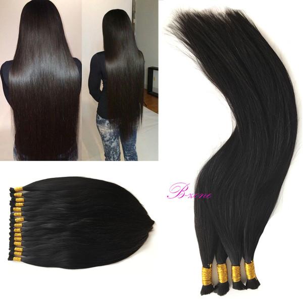Stock 8A Indian Straight bulk hair for braiding no wef10-30 inch 100% Unprocessed Indian Straight Human Hair Natural Black braiding Hair