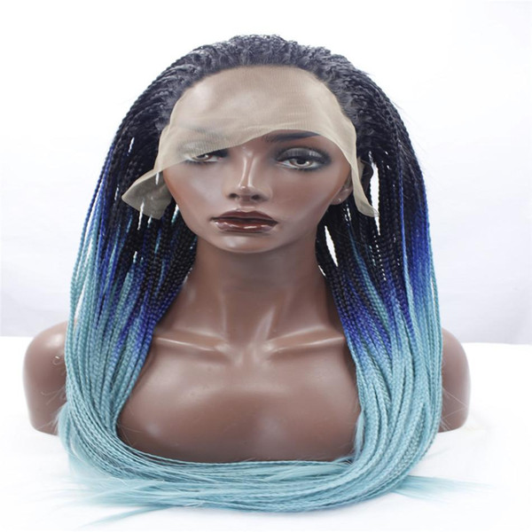 lace front wigs Africa american braided lace wig heat resistant synthetic frontal hair long micro braided wigs for black women Mixed colors