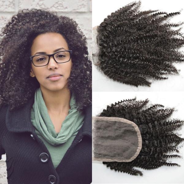 Free Part Top Closure Bleached Knots Natural 100% Human Hair Malaysian Afro Kinky Curly Hair Closure G-EASY Hair
