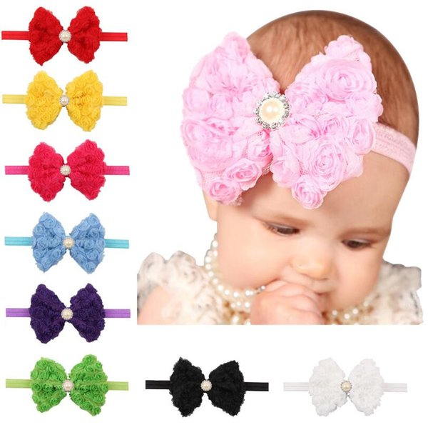 Sale 5PCS Pearl Bow Infant Baby Headbands Bow Flower Girl Hairband Headwear Kids Photography Props NewBorn Baby Hair bands Accessories