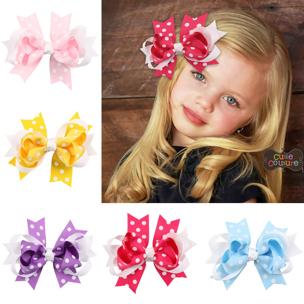 15Pcs 5 Inch Girls Dot Layered Ribbon Bows Hairpin Baby Girls Handmade Boutique Hair Clip Beautiful HuiLin DW56