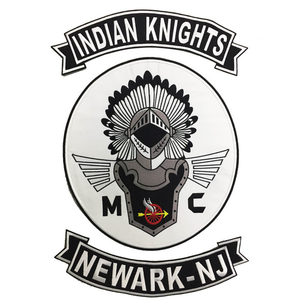 HOT SALE COOLEST INDIAN KNIGHTS MC BACK EMBROIDERY PATCH MOTORCYCLE CLUB VEST OUTLAW BIKER MC COLORS PATCH FREE SHIPPING