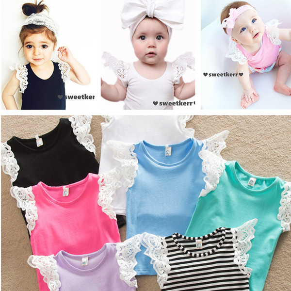 top popular stylish girls top infant tees fashion Baby Kids Girls Clothing T-shirts Tops Tees baby child cotton lace vest T-shirt 365 2021
