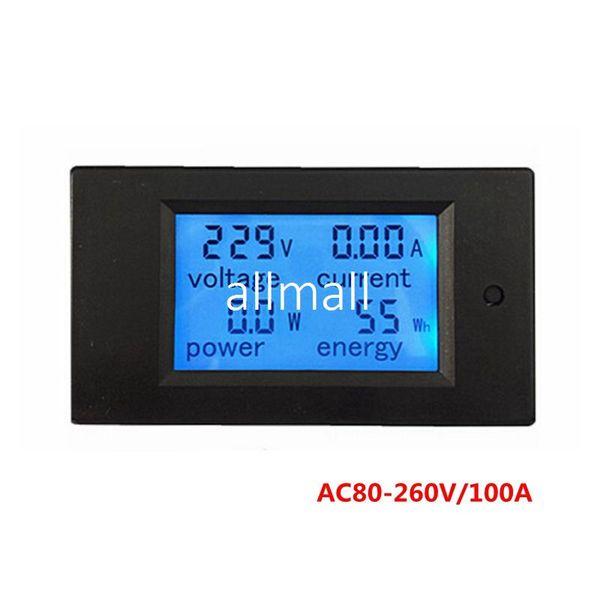 Freeshipping 5pcs/lot Digital AC Voltage Meters 100A/80~260V Power Energy analog Voltmeter Ammeter watt current Amps Volt meter LED Panel Mo