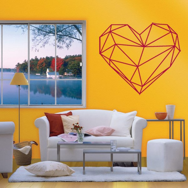 Pvc Geometric Heart Wall Stickers Removable Art Wall Decals Home ...