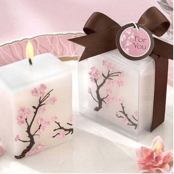 top popular 100pcs Romantic Wedding Candles cherry blossoms candle Wedding Favor Smoke-free Scented Candle WA2251 2019